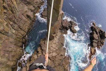 Watch This Guy Slackline the Moai Tower