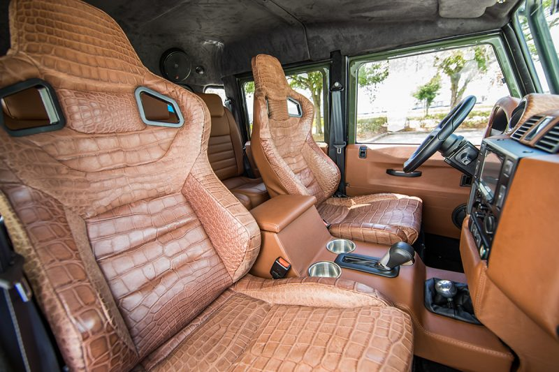 Alligator leather car seats