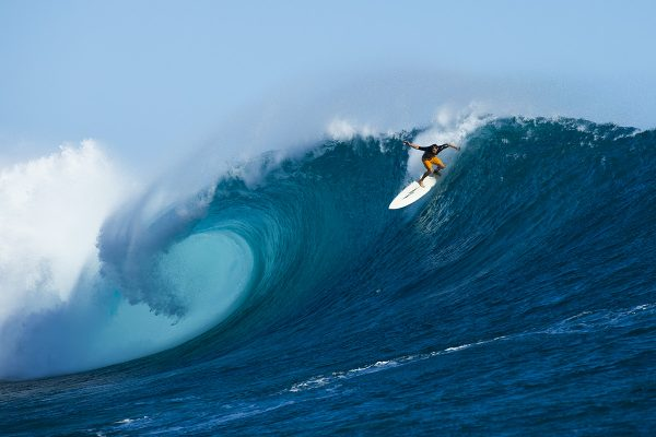 Patagonia surf ambassador Mike Pietsch surfing at Cloudbreak, Fiji.