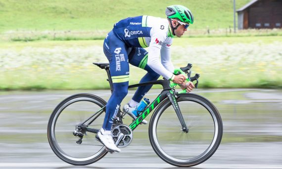 ORICA-GreenEDGE rider Simon Gerrans road tests the new Scott Cadence Plus helmet. Picture: Simon Ricklin