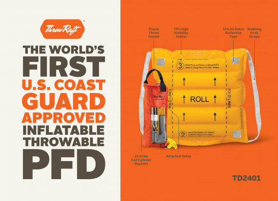 Coast Guard approved personal inflatable raft