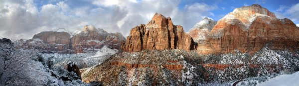 Sandstone Peaks In Winter Zion National Park Utah | Gearminded.com