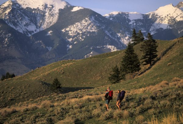 Family Hiking Near Absaroka Mountain Range, Paradise Valley