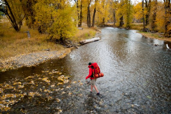 Hiking Across Little Blackfoot River