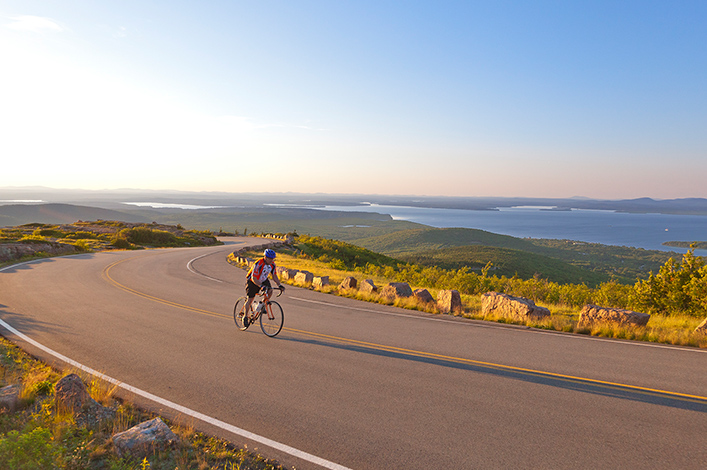 A lone road cyclists in Arcadia National park